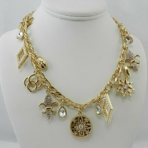 Charter Club Gold-Tone Crystal Charm  Necklace